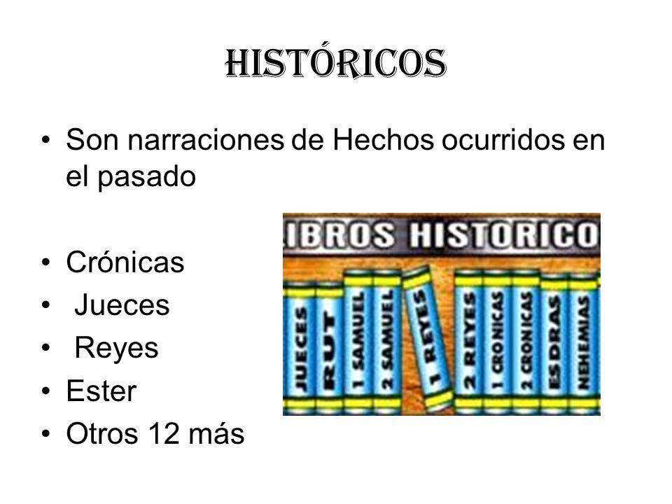 Históricos Son narraciones de Hechos ocurridos en el pasado Crónicas Jueces Reyes Ester Otros 12 más