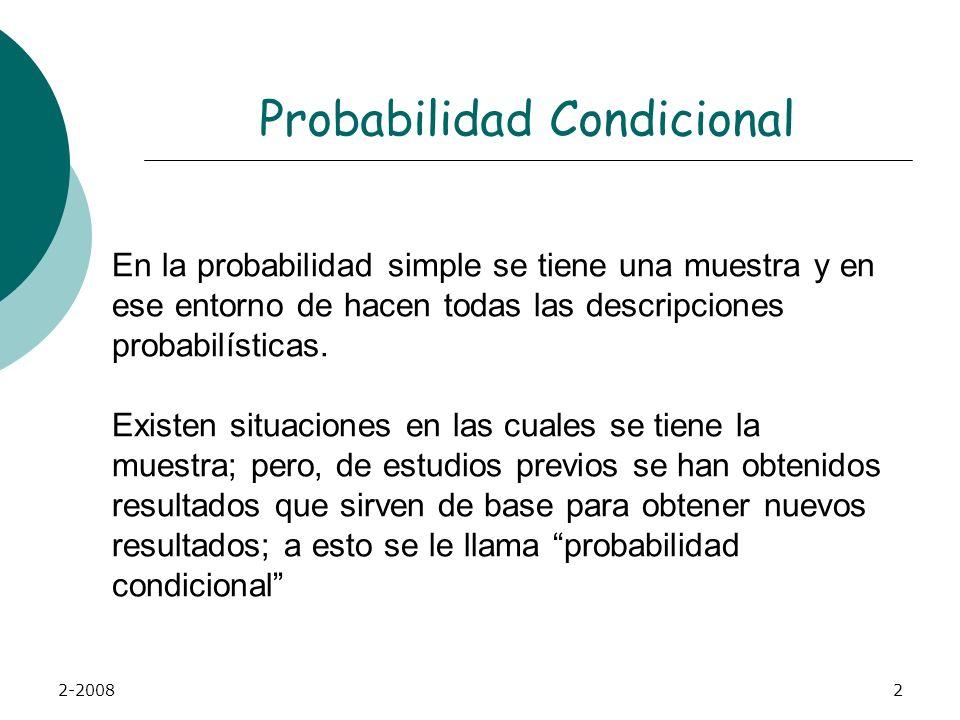 2-20082 Probabilidad Condicional En la probabilidad simple se tiene una muestra y en ese entorno de hacen todas las descripciones probabilísticas.