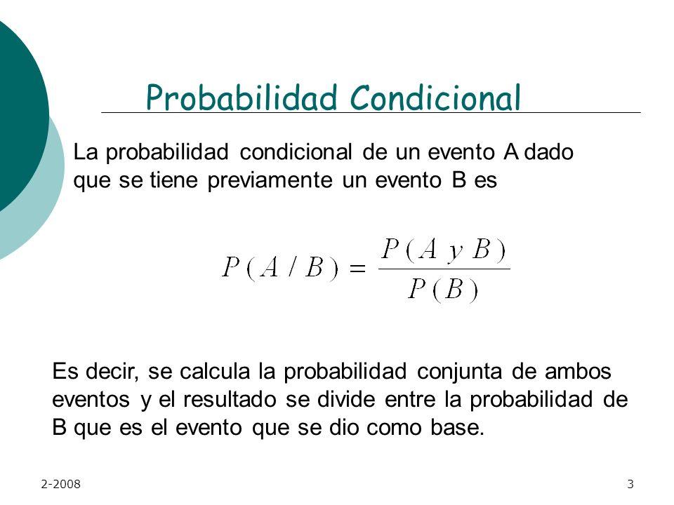 2-20083 Probabilidad Condicional La probabilidad condicional de un evento A dado que se tiene previamente un evento B es Es decir, se calcula la probabilidad conjunta de ambos eventos y el resultado se divide entre la probabilidad de B que es el evento que se dio como base.