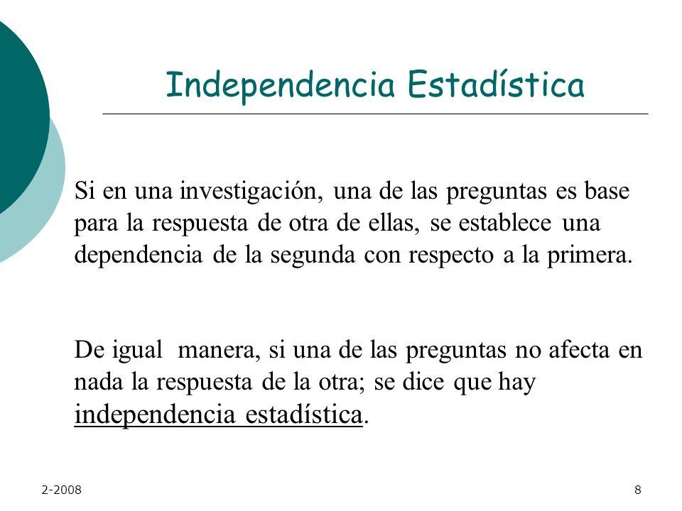 2-20088 Independencia Estadística Si en una investigación, una de las preguntas es base para la respuesta de otra de ellas, se establece una dependencia de la segunda con respecto a la primera.