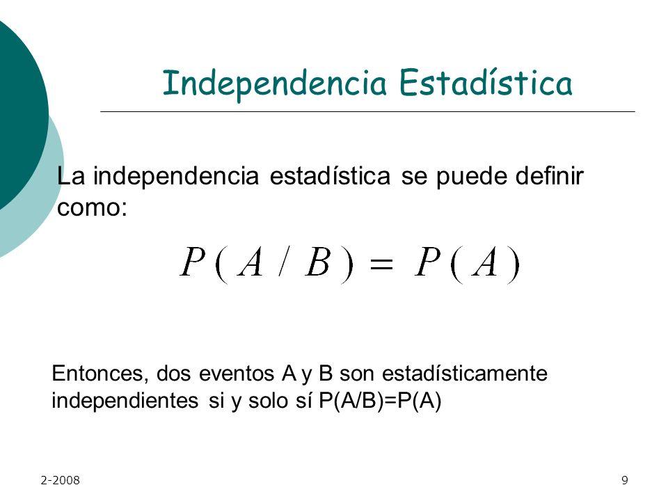 2-20089 Independencia Estadística La independencia estadística se puede definir como: Entonces, dos eventos A y B son estadísticamente independientes si y solo sí P(A/B)=P(A)