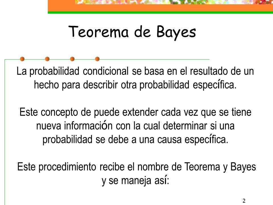 1 TEOREMA DE BAYES Estad í stica Capítulo 4.3