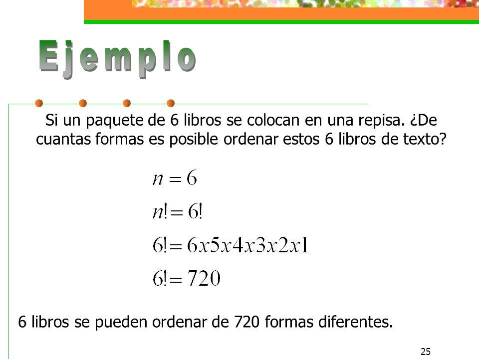 24 Reglas de Conteo = factorial El número de maneras en el que n cosas pueden arreglarse en orden es: Características n! Es el factorial de n 1!Es igu