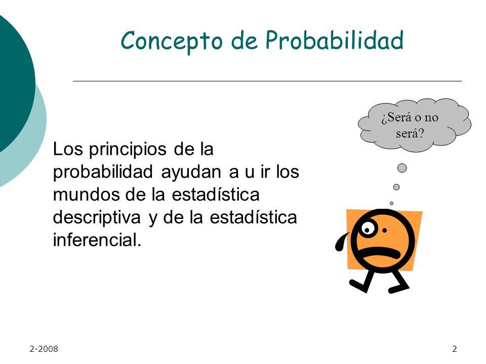 2-20082 Concepto de Probabilidad Los principios de la probabilidad ayudan a u ir los mundos de la estadística descriptiva y de la estadística inferencial.
