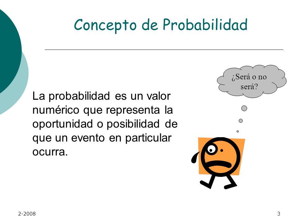 2-20083 Concepto de Probabilidad La probabilidad es un valor numérico que representa la oportunidad o posibilidad de que un evento en particular ocurra.