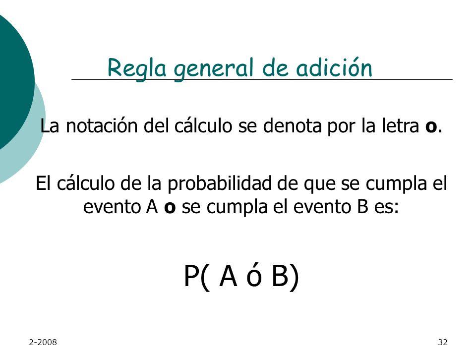 2-200831 Regla general de adición La regla de la adición permite calcular probabilidades combinando los resultados de más de una pregunta sin necesida