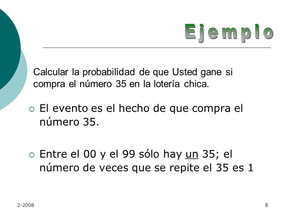 2-20087 Probabilidad de Ocurrencia La fórmula elemental para calcular la probabilidad de un evento simple, es la siguiente: