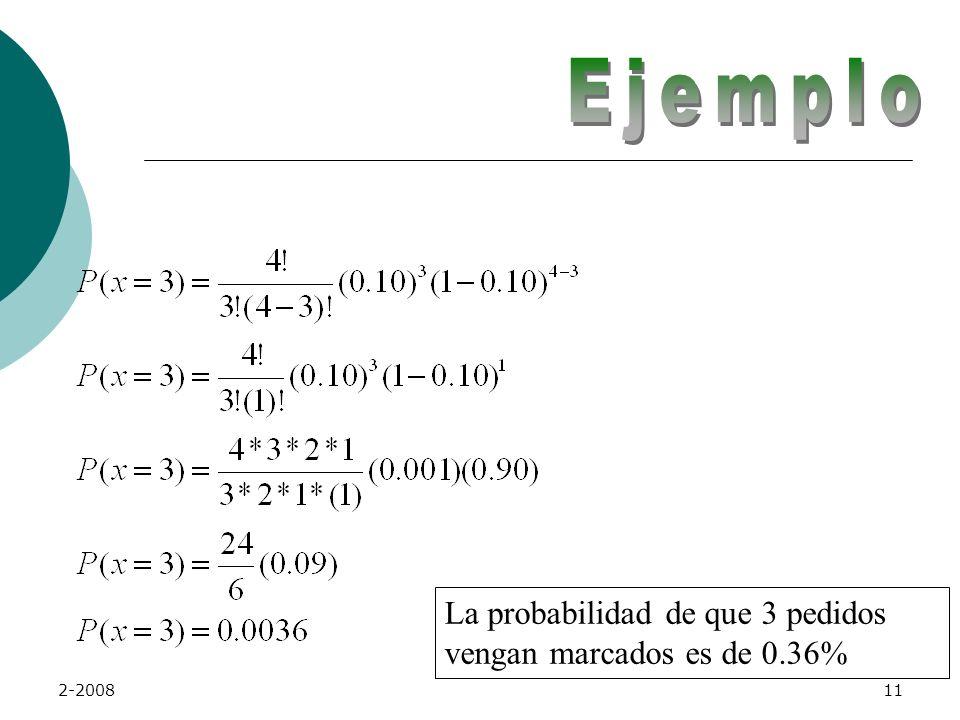 2-200810 Probabilidad de Éxito: p = 0.10 Tamaño de la muestra: n = 4 Probabilidad a calcular: P(x=3)