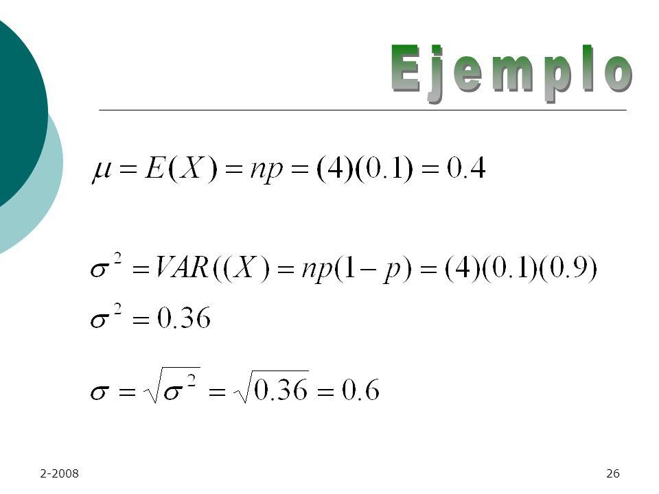 2-200825 Varianza y Desviación Estándar La desviación estándar de la distribución binomial es: