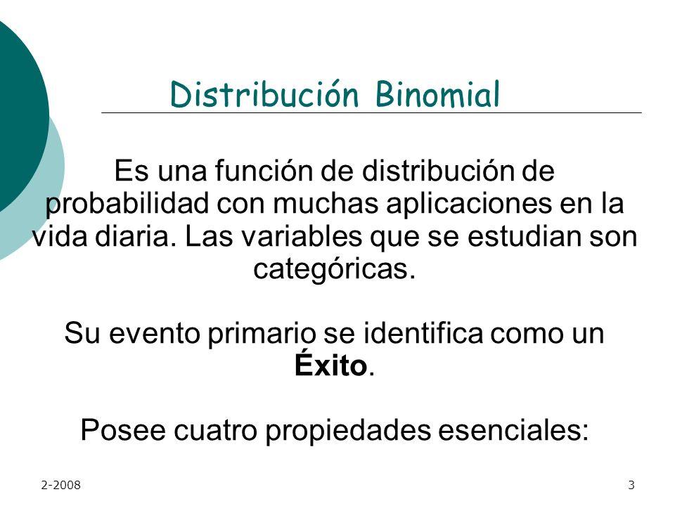 2-20083 Distribución Binomial Es una función de distribución de probabilidad con muchas aplicaciones en la vida diaria.
