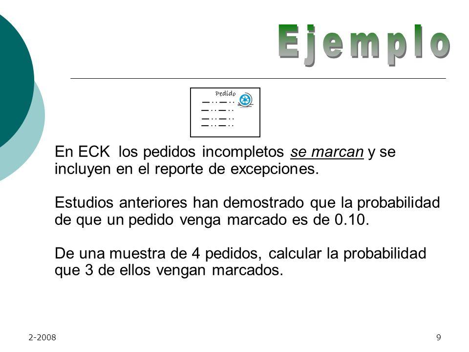 2-200819 ECK tiene la probabilidad de que se marque un pedido en 0.10.