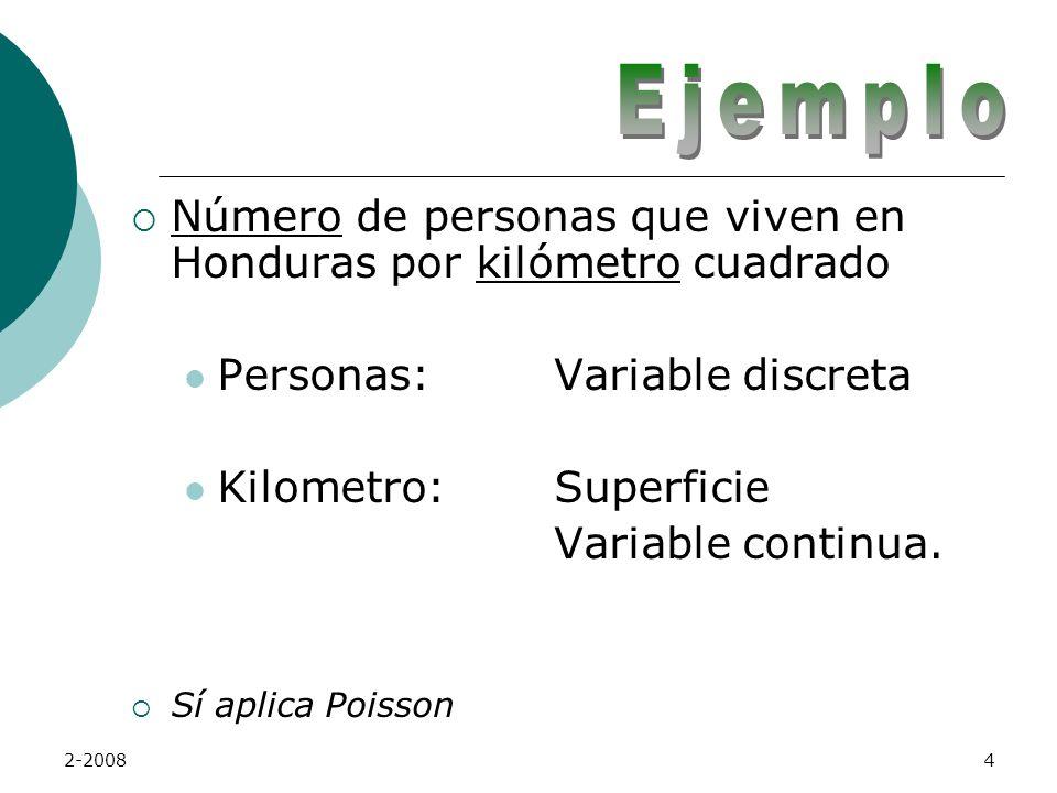 2-20084 Número de personas que viven en Honduras por kilómetro cuadrado Personas:Variable discreta Kilometro:Superficie Variable continua.