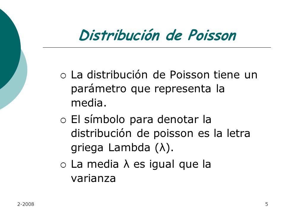 2-20085 Distribución de Poisson La distribución de Poisson tiene un parámetro que representa la media.