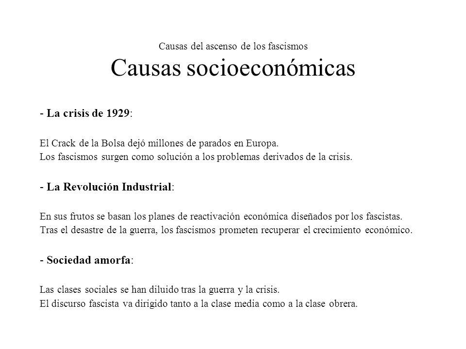 Causas del ascenso de los fascismos Causas socioeconómicas - La crisis de 1929: El Crack de la Bolsa dejó millones de parados en Europa. Los fascismos