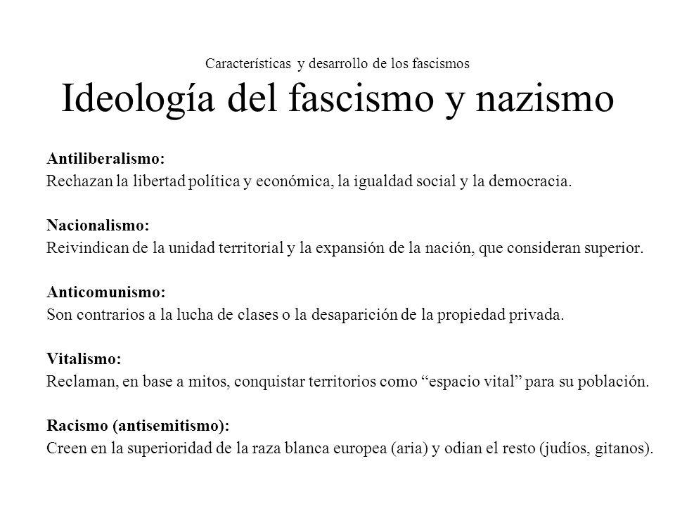 Características y desarrollo de los fascismos Ideología del fascismo y nazismo Antiliberalismo: Rechazan la libertad política y económica, la igualdad
