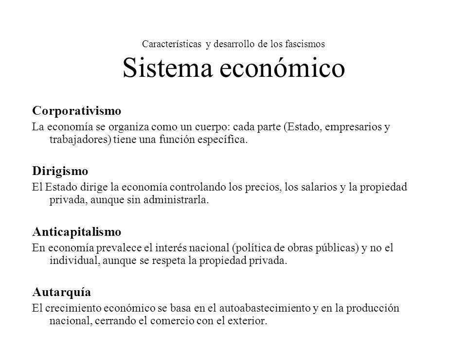 Características y desarrollo de los fascismos Sistema económico Corporativismo La economía se organiza como un cuerpo: cada parte (Estado, empresarios