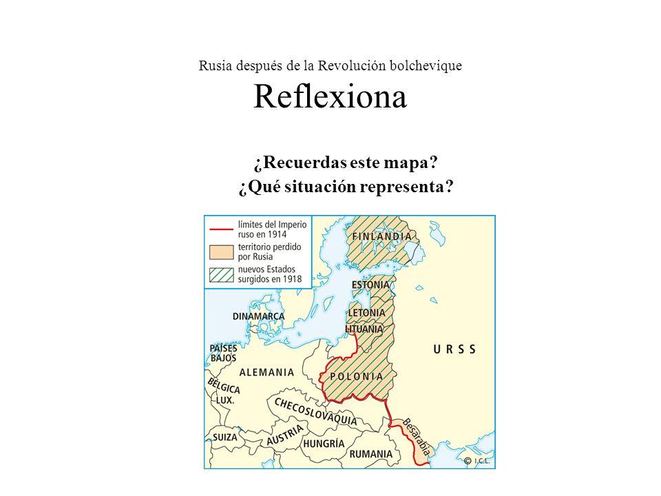 Rusia después de la Revolución bolchevique Reflexiona ¿Recuerdas este mapa? ¿Qué situación representa?