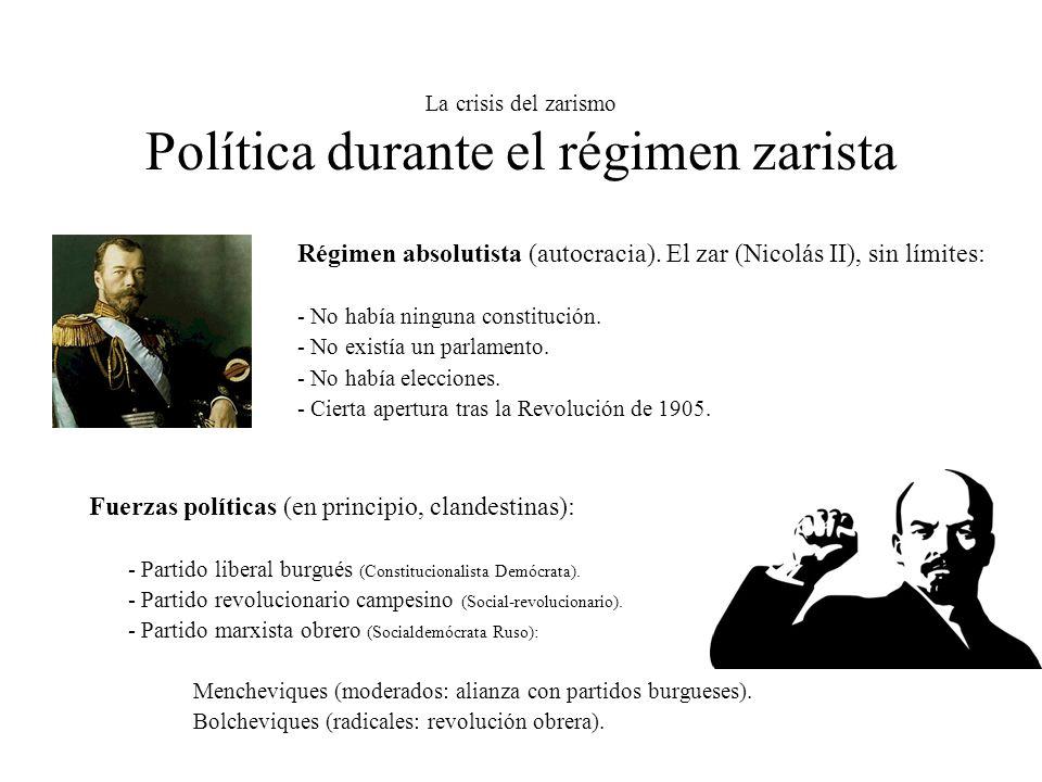 La crisis del zarismo Política durante el régimen zarista Régimen absolutista (autocracia). El zar (Nicolás II), sin límites: - No había ninguna const