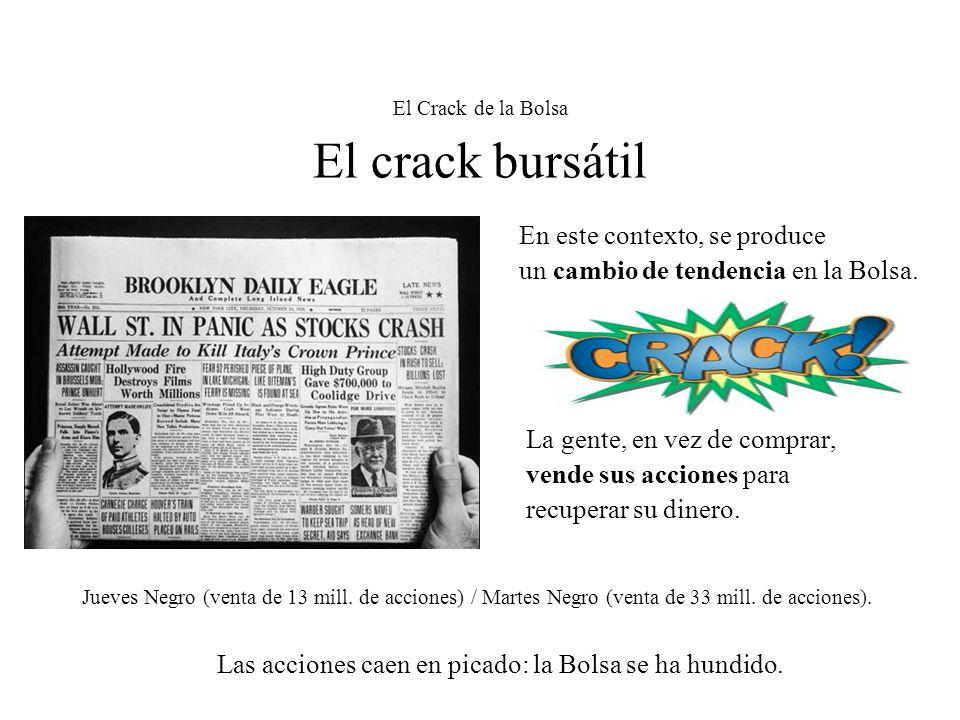 El Crack de la Bolsa El crack bursátil En este contexto, se produce un cambio de tendencia en la Bolsa. La gente, en vez de comprar, vende sus accione