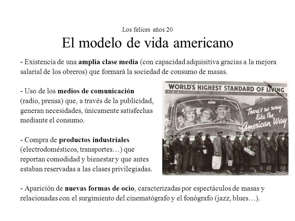 Los felices años 20 El modelo de vida americano - Existencia de una amplia clase media (con capacidad adquisitiva gracias a la mejora salarial de los