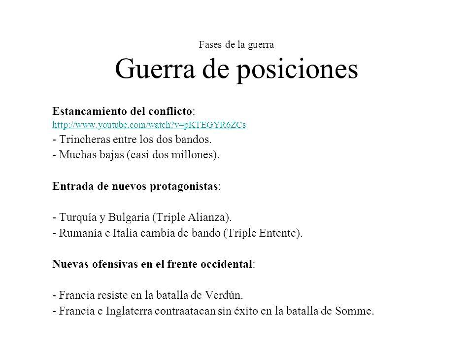 Fases de la guerra Guerra de posiciones Estancamiento del conflicto: http://www.youtube.com/watch?v=pKTEGYR6ZCs - Trincheras entre los dos bandos.