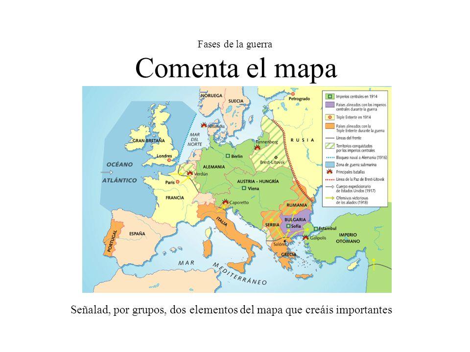 Fases de la guerra Comenta el mapa Señalad, por grupos, dos elementos del mapa que creáis importantes