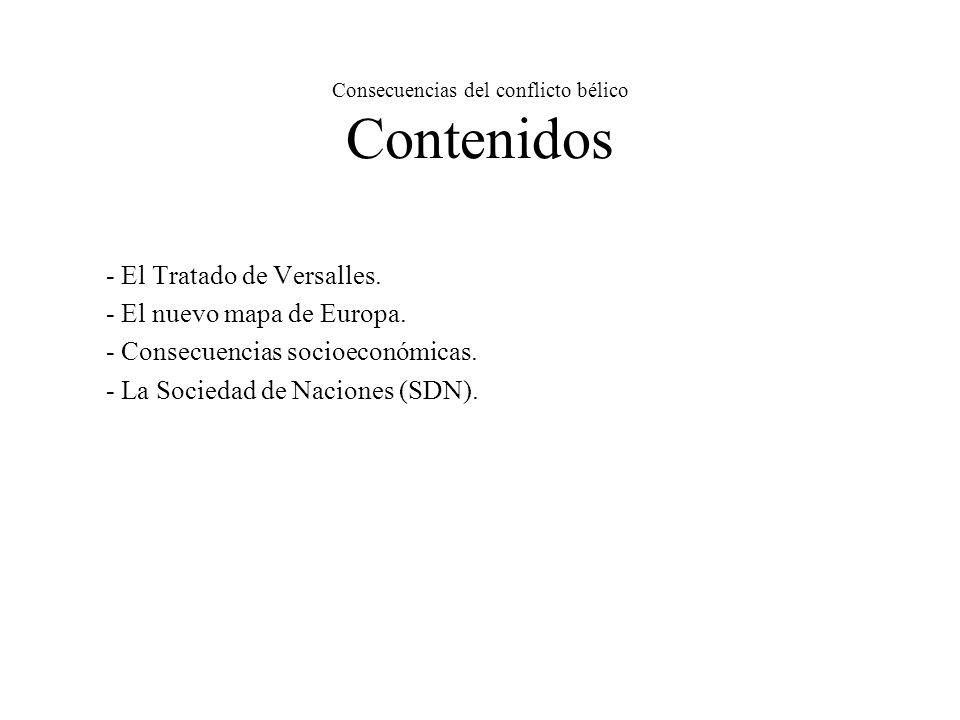 Consecuencias del conflicto bélico Contenidos - El Tratado de Versalles.