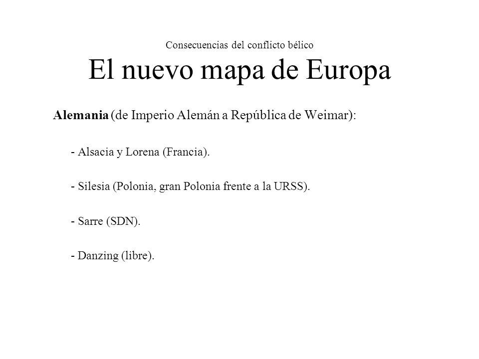 Consecuencias del conflicto bélico El nuevo mapa de Europa Alemania (de Imperio Alemán a República de Weimar): - Alsacia y Lorena (Francia).