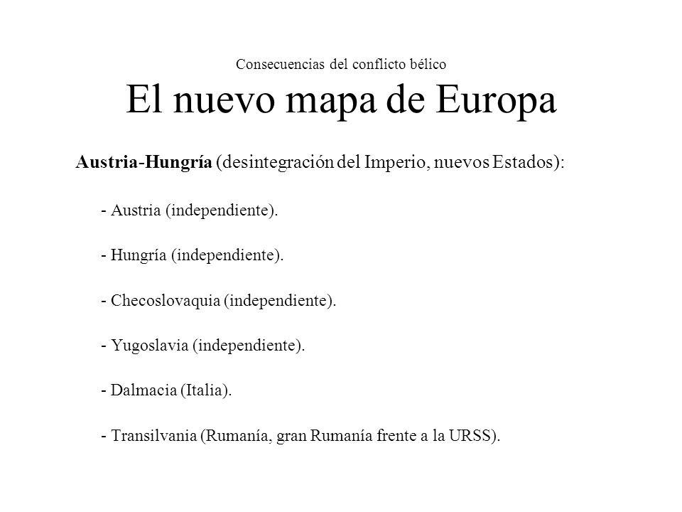 Consecuencias del conflicto bélico El nuevo mapa de Europa Austria-Hungría (desintegración del Imperio, nuevos Estados): - Austria (independiente).