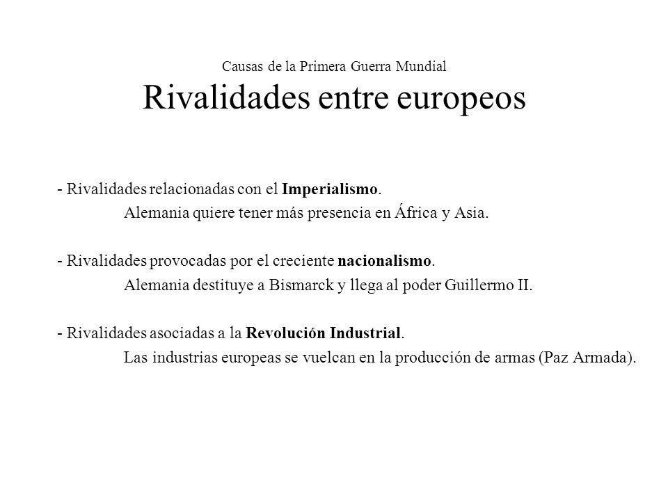 Causas de la Primera Guerra Mundial Rivalidades entre europeos - Rivalidades relacionadas con el Imperialismo.