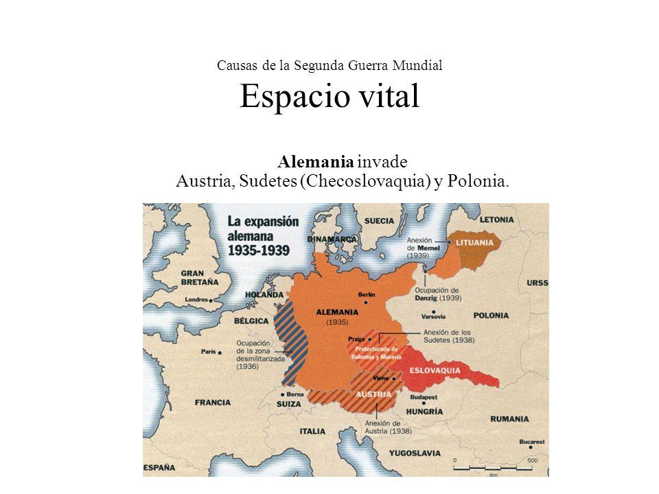 Causas de la Segunda Guerra Mundial Espacio vital Alemania invade Austria, Sudetes (Checoslovaquia) y Polonia.