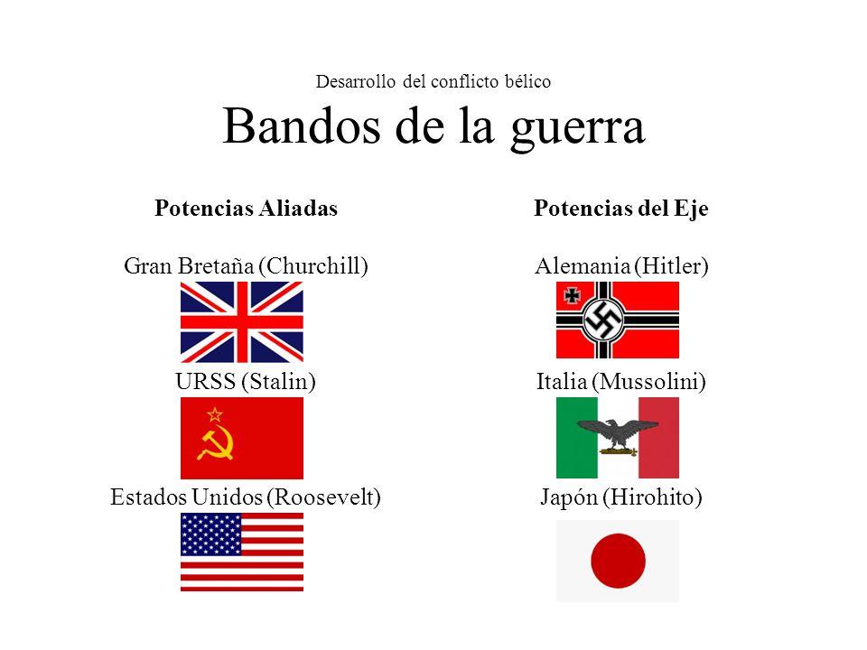 Desarrollo del conflicto bélico Bandos de la guerra Potencias Aliadas Gran Bretaña (Churchill) URSS (Stalin) Estados Unidos (Roosevelt) Potencias del