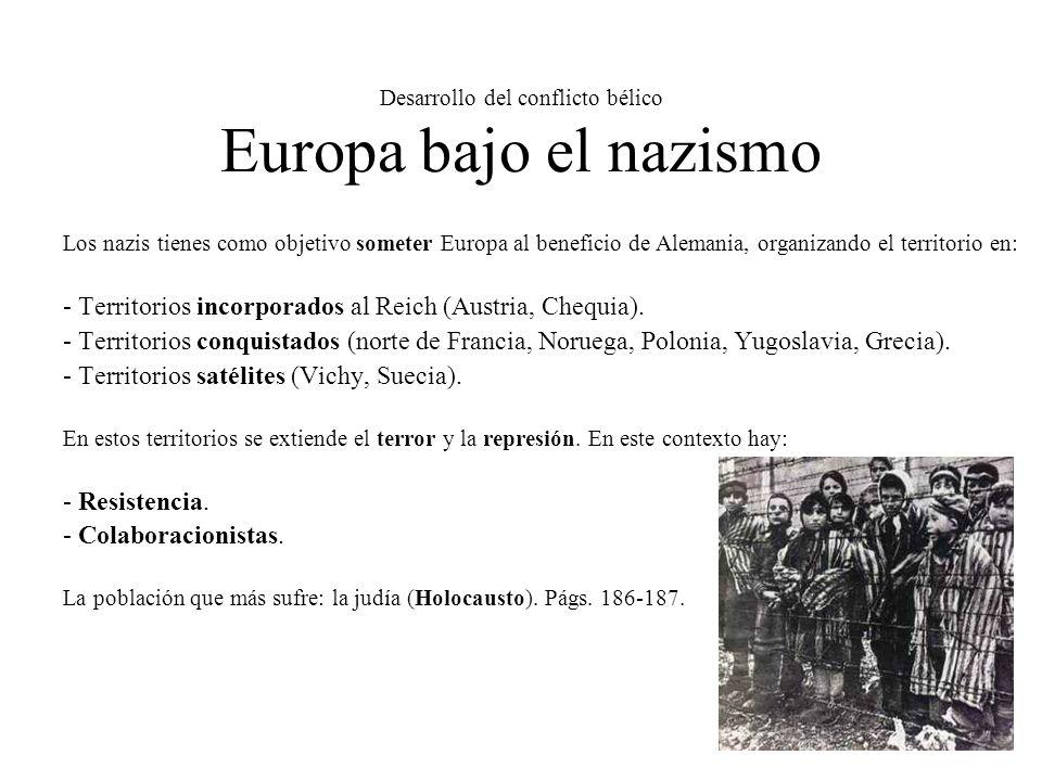 Desarrollo del conflicto bélico Europa bajo el nazismo Los nazis tienes como objetivo someter Europa al beneficio de Alemania, organizando el territor