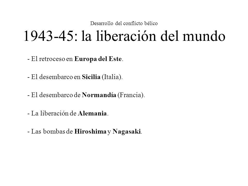 Desarrollo del conflicto bélico 1943-45: la liberación del mundo - El retroceso en Europa del Este. - El desembarco en Sicilia (Italia). - El desembar