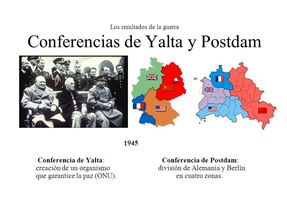 Los resultados de la guerra Conferencias de Yalta y Postdam 1945 Conferencia de Yalta: Conferencia de Postdam: creación de un organismo división de Al