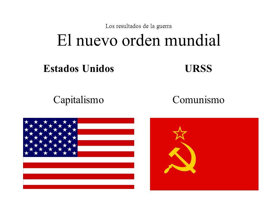 Los resultados de la guerra El nuevo orden mundial Estados Unidos Capitalismo URSS Comunismo