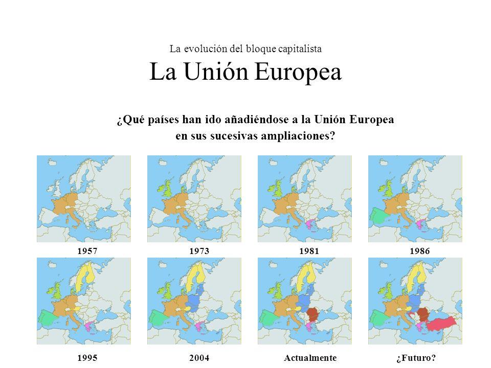 La evolución del bloque capitalista La Unión Europea ¿Qué países han ido añadiéndose a la Unión Europea en sus sucesivas ampliaciones.