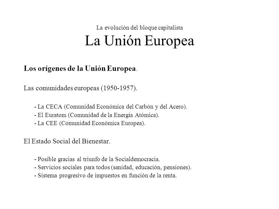 La evolución del bloque capitalista La Unión Europea Los orígenes de la Unión Europea.