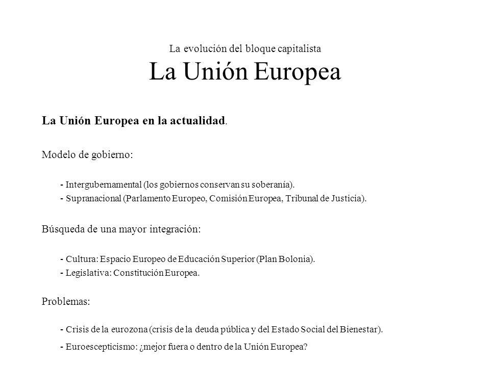 La evolución del bloque capitalista La Unión Europea La Unión Europea en la actualidad.