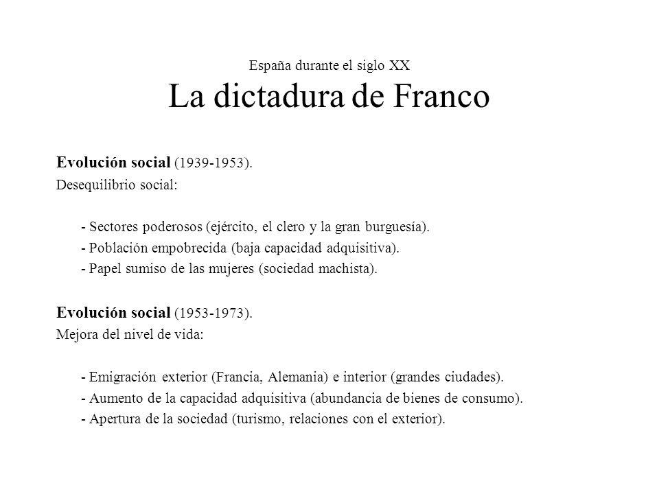 España durante el siglo XX La dictadura de Franco Evolución social (1939-1953).