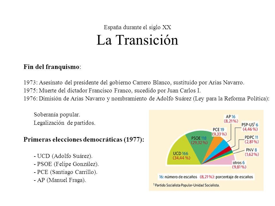 España durante el siglo XX La Transición Fin del franquismo: 1973: Asesinato del presidente del gobierno Carrero Blanco, sustituido por Arias Navarro.