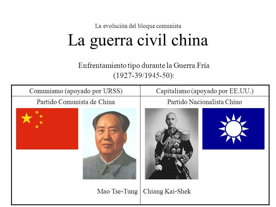 La evolución del bloque comunista La guerra civil china Enfrentamiento tipo durante la Guerra Fría (1927-39/1945-50): Comunismo (apoyado por URSS)Capitalismo (apoyado por EE.UU.) Partido Comunista de China Mao Tse-Tung Partido Nacionalista Chino Chiang Kai-Shek