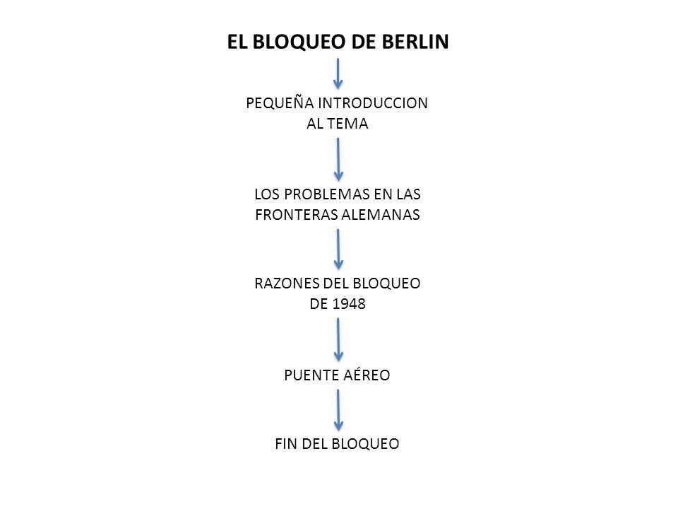 EL BLOQUEO DE BERLIN PEQUEÑA INTRODUCCION AL TEMA LOS PROBLEMAS EN LAS FRONTERAS ALEMANAS RAZONES DEL BLOQUEO DE 1948 PUENTE AÉREO FIN DEL BLOQUEO