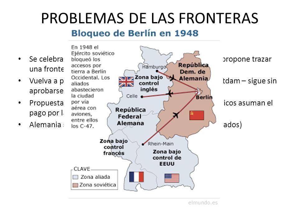 PROBLEMAS DE LAS FRONTERAS ALEMANAS Se celebra la conferencia de teheran (1943) donde Stalin propone trazar una frontera polaca Vuelva a proponer la i