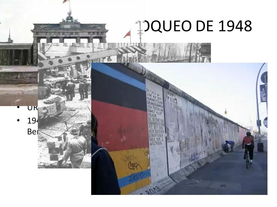 RAZONES DEL BLOQUEO DE 1948 Reforma monetaria de la RFA – pasan del Reichsmark al Deutsche Mark Los dos bandos ya no podian comerciar URSS no quiere i