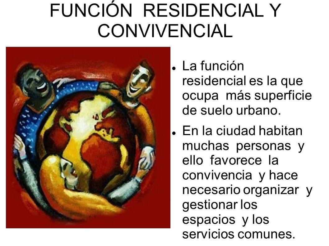 FUNCIÓN RESIDENCIAL Y CONVIVENCIAL La función residencial es la que ocupa más superficie de suelo urbano. En la ciudad habitan muchas personas y ello