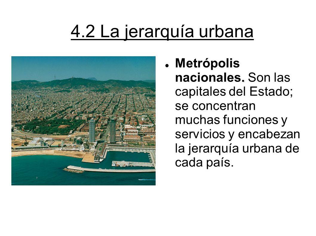 4.2 La jerarquía urbana. Metrópolis nacionales. Son las capitales del Estado; se concentran muchas funciones y servicios y encabezan la jerarquía urba