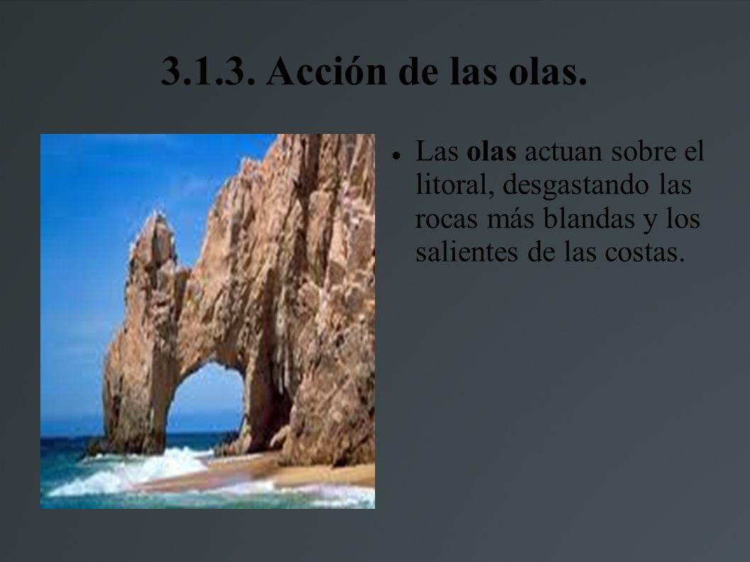 3.1.2. La acción del agua helada. El agua se filtra por las rocas y cuando bajan las temperaturas se hiela provocando así grietas en la rocas.
