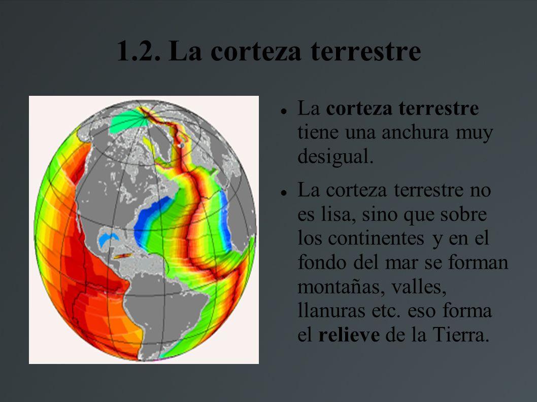 1.2.La corteza terrestre La corteza terrestre tiene una anchura muy desigual.