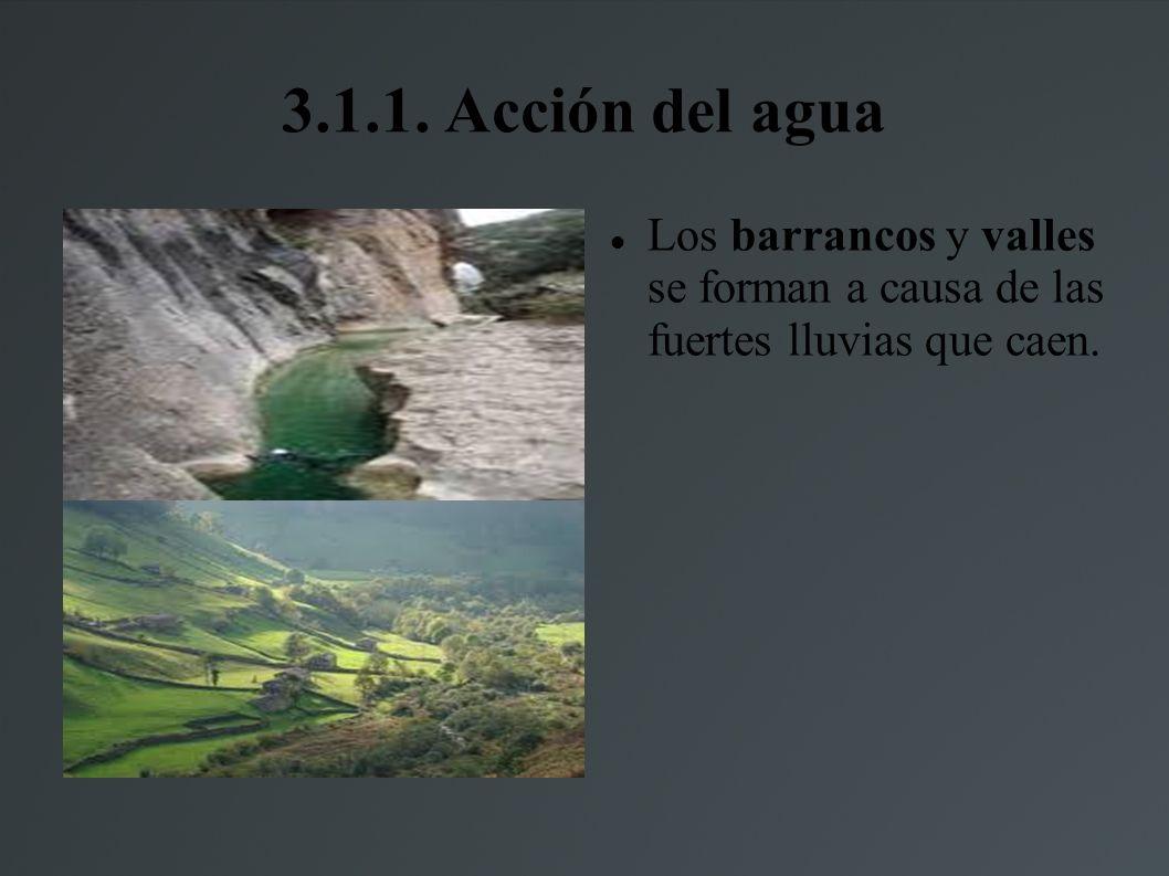 3.1.1. Acción del agua Los barrancos y valles se forman a causa de las fuertes lluvias que caen.